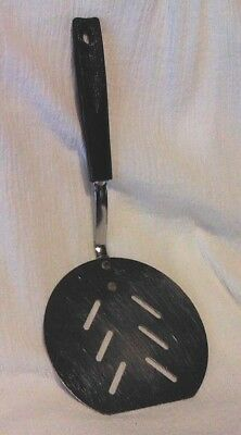 "EKCO Round Slotted Spatula Pancake Turner 10.25"" Black Nylon Handle USA Vintage"