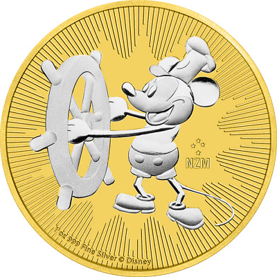 2017 Niue 2$ Steamboat Willie 1 Oz Mickey Mouse .999 Gilded Silver Coin