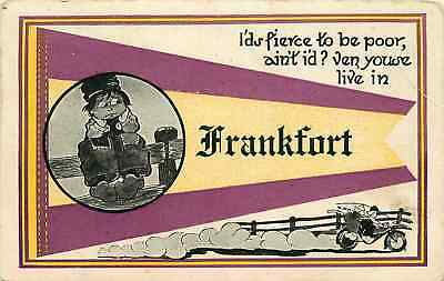 Postcard Pennant & Dutch Boy Greetings from Frankfort - what state? - ca 1908