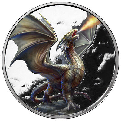 1 Oz Silver Coin Anne Stokes Dragon Coin Colorized Noble Dragon 3Rd In Series