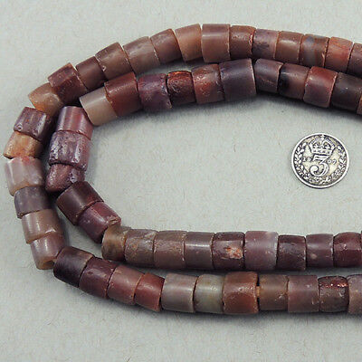 25 inch 64cm strand cylindrical ancient carnelian agate stone beads mali #4088