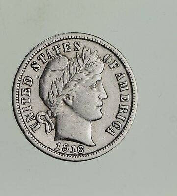 Higher Grade - 1916 Barber Liberty US Silver Dime - Great Detail in LIBERTY *575