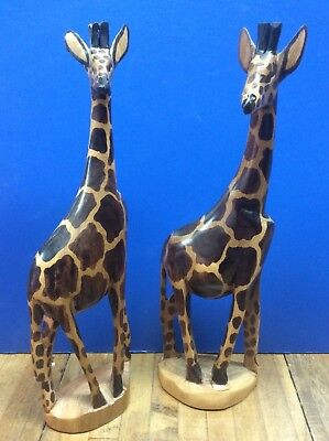2 Hand CARVED wood GIRAFFE african art SCULPTURE animal Figurines