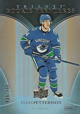Elias Pettersson Ssp /999 Rc 2018-19 Upper Deck Trilogy Rookie Premieres Canucks