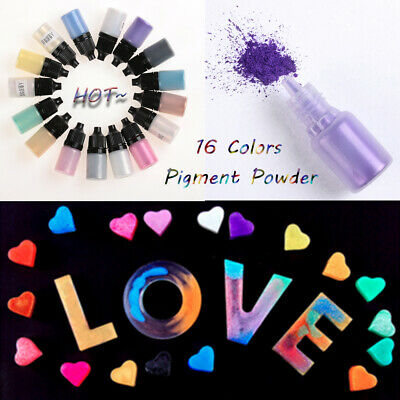 16-Colour Pearlescent Mica Pigment Powder Rainbow UV Resin Epoxy for DIY Crafts