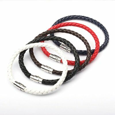 Fashion Braided Weave Leather Steel Magnetic Clasp Women Men Bracelet Jewelry
