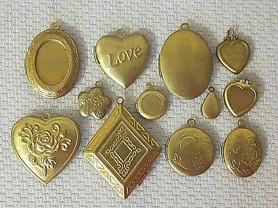 12 Vtg Modern Lockets Huge Lot Brass Findings Flower Hearts Nos Pendants Charms