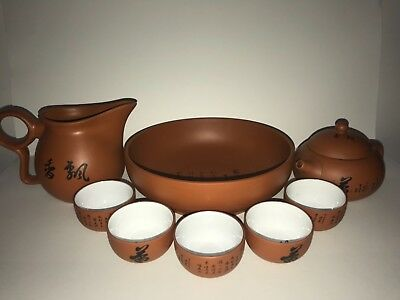 Chinese High Tea Set Tray, Tea Pot, Cups, Tools, Simple, Pottery, Vintage