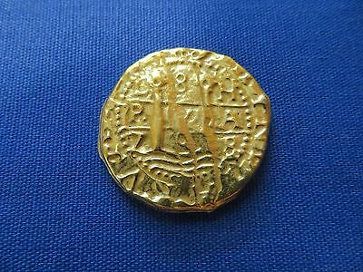 Gold Layered Metal Souvenir Spanish Galleon Shipwreck Coin 12gms 1-1/8 Inch