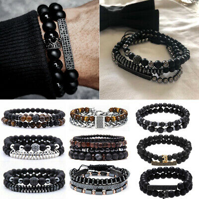 2PCS Stone Bead Crystal Balance Bracelet Men Bangle Set Jewellery Couples Gift