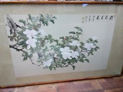 Beautiful Antique Japanese Watercolour? Painting Signed 19th Century Decorative