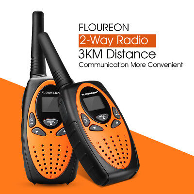 2/4X FLOUREON MAX 5KM UHF Intercom Autoscan 8 Channel 2-Way Radio Walkie Talkie