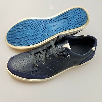 742643fb5 COLE HAAN GRAND.OS Blue Leather Lace Up Casual Sneakers Shoes Men's US 8  Medium