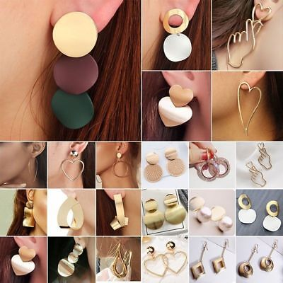 Fashion Women Metal Geometric Pendant Dangle Drop Statement Earrings Jewelry