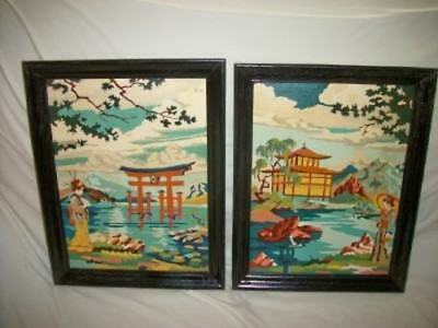 Mid Century Oriental Paint By Numbers PBN Paintings Pagoda Geisha Aqua Black