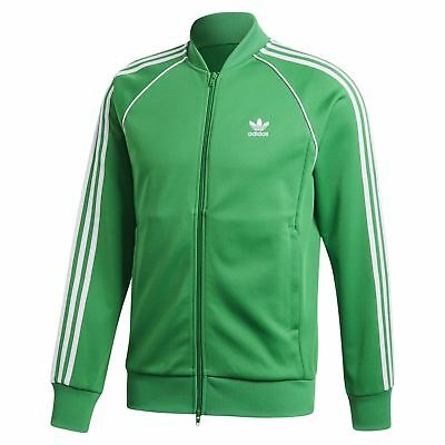 on sale a5c99 917cb Adidas Originali Superstar Track Top Verde Rétro Adicolor 3 Strisce Sst UOMO