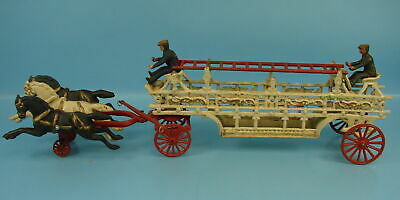 "Vintage Cast Iron 3 Horse Drawn Fire Wagon Truck W/ Ladder And Two Men 28"" Long"