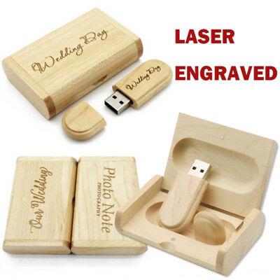 Personalised Laser Engraved Solid Wooden USB Flash Drive Box Memory Storage Disk