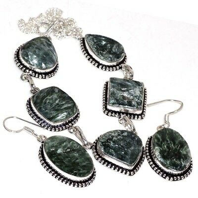 X33657 Seraphinite 925 Sterling Silver Plated Necklace Earrings Set