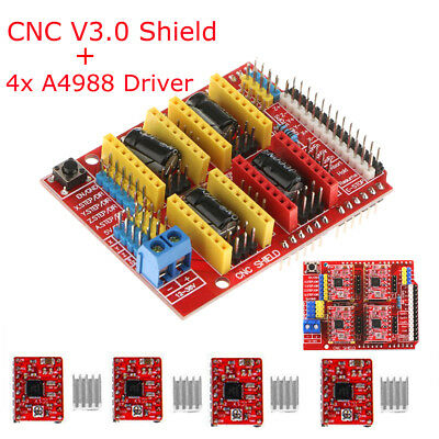3D Printer CNC Shield V3 Engraver Expansion Board + 4x A4988 Driver Module