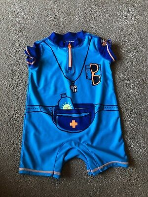 Boys Baby Gap Blue Lifeguard Summer All In One UV Swim Suit Age 12-18 Months VGC