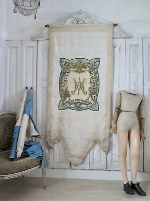 French antique religious church BANNER - REGINA Krone Fahne Prozession shabby