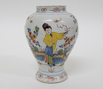 Antique 17th/18thC Dutch Delft Pottery Polychrome Vase - Chinoiserie