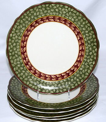 Charter Club Winter Garland * 6 ACCENT DINNER PLATES * Christmas, Unused/Tags!
