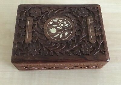 Vintage Hand Carved Wooden Box Indian Rosewood Box With Inlay Decoration