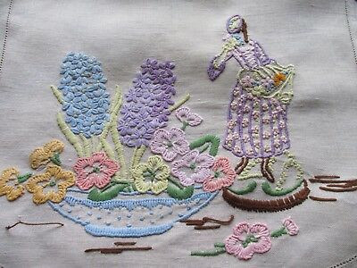 Vintage Hand Embroidered CRINOLINE LADY & FLORAL Panel/Chairback