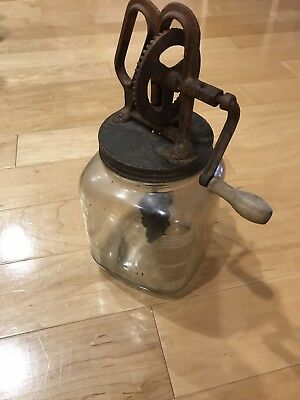 Antique / Vintage Hand Crank Glass Jar 3 Quart Butter Churn Cast Iron Gears