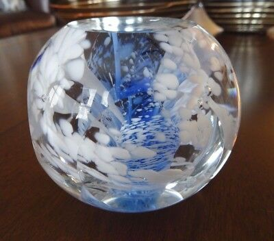 Large FOSTORIA Signed Rudy Morski Art Glass Blue Swirl FACTETED Paperweight