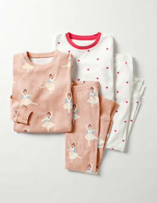 NEW Mini Boden Twin Pack Cosy Long Johns Pyjamas PJ - Pink Angel/Red Heart  12