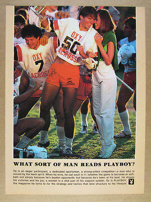1981 Occidental College Oxy Lacrosse Player photo Playboy promo vintage print Ad