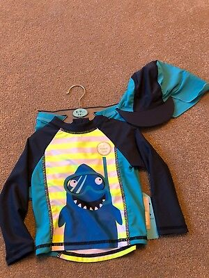 Baby Boys Primark 3 Piece Shark Design UV Swim Suit & Hat Age 6-9 Months BNWT