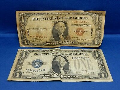 1928-B & 1935-A Hawaii $1 Silver Certificates - About Good