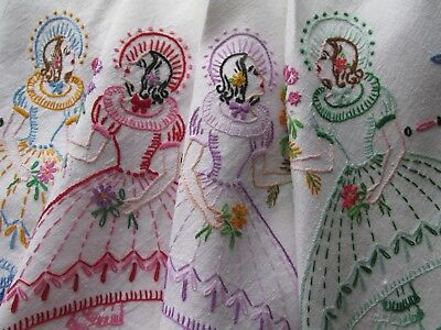 Vintage Hand Embroidered CRINOLINE LADIES & BUTTERFLIES Tablecloth-FAB DETAIL