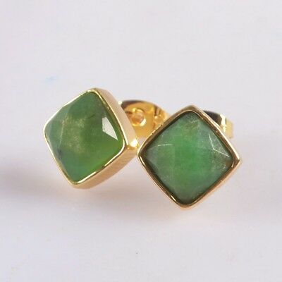 10mm Sqaure Natural Chrysoprase Faceted Bezel Stud Earrings Gold Plated H128931