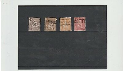 Switzerland 4 x Sitzende Helvetias all straight line cancels - superb! (Q8)