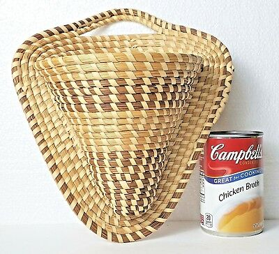 Vintage GULLAH SWEETGRASS Basket CORNER WALL POCKET South Carolina Low Country