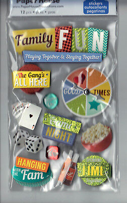 Paper House FAMILY FUN 3-D Multi-Layered Stickers scrapbooking GAMES MOVIES