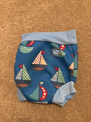 Baby Boys Splash About Blue Boat Design Swim Happy Nappy Size Small 0-3 Months