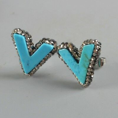 V-Shape Blue Howlite Turquoise Pave Zircon Stud Earrings H128937