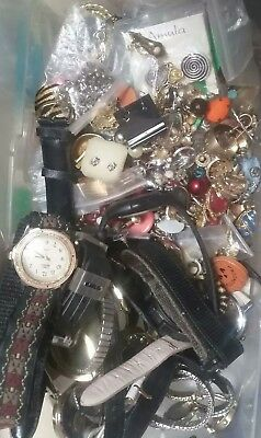 Vintage Estate Jewelry Lot Men/Wom Watches Paired Earrings 925, Monet, Gold? 2lb