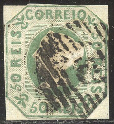 PORTUGAL #3 Used - 1853 50r Yellow Green ($875)