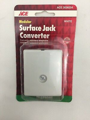 1994 Ace Hardware 3038254 Modular Surface Jack Converter White Telephone Jack