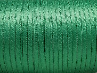 """25y Fern Green 3mm 1/8"""" Premium Double Sided Faced Satin Ribbon Eco Holiday"""