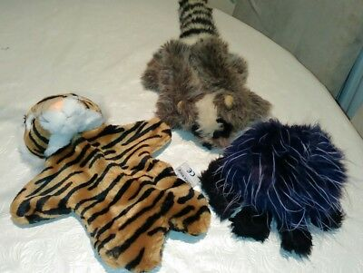 Three puppet hand bundle tiger, spider and racoon