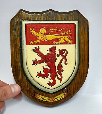 Antique or Vintage Wooden Heraldic Shield / Plaque with Passant & Rampant Lions