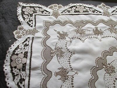Vintage Hand Embroidered Madeira Tablecloth-FABULOUS DETAIL THROUGHOUT